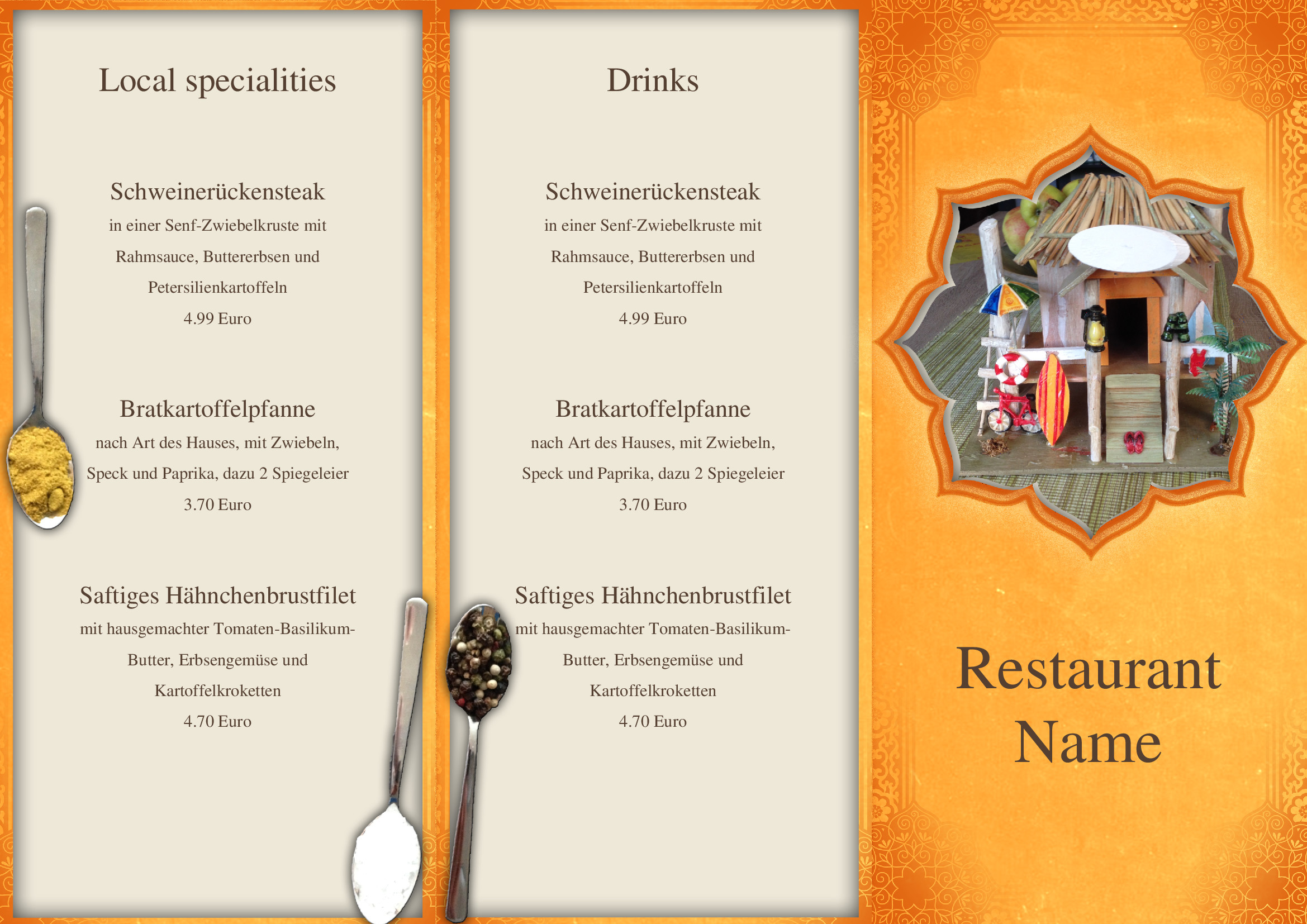 speisekarten und men u00fckarten  indian restaurant trifold