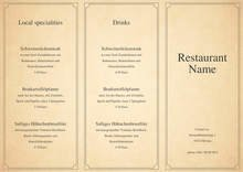 Restaurant Cafe & Bar Menu